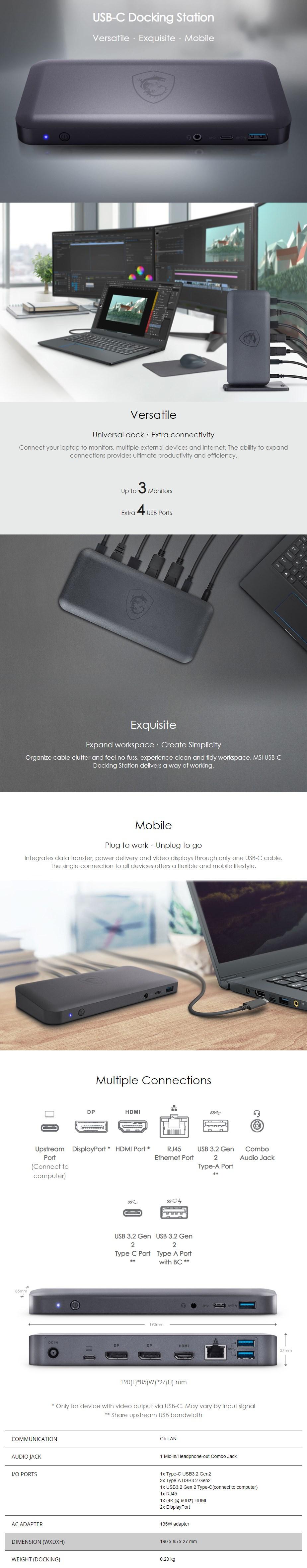 MSI USB-C Docking Station - Overview 1