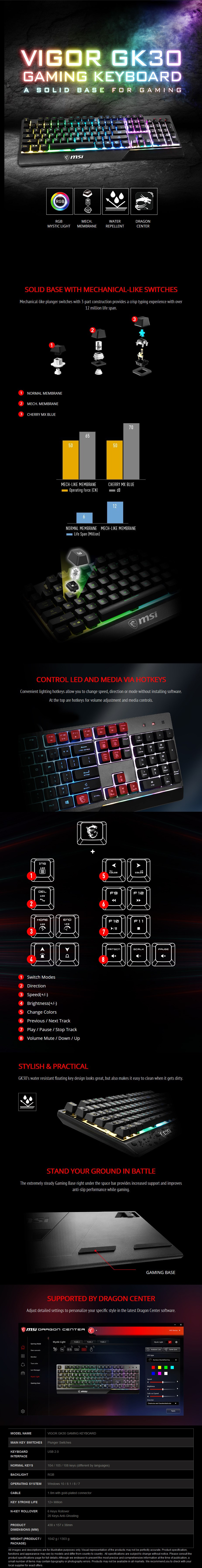 MSI Vigor GK30 Gaming Keyboard - Plunger Switches - Desktop Overview 1