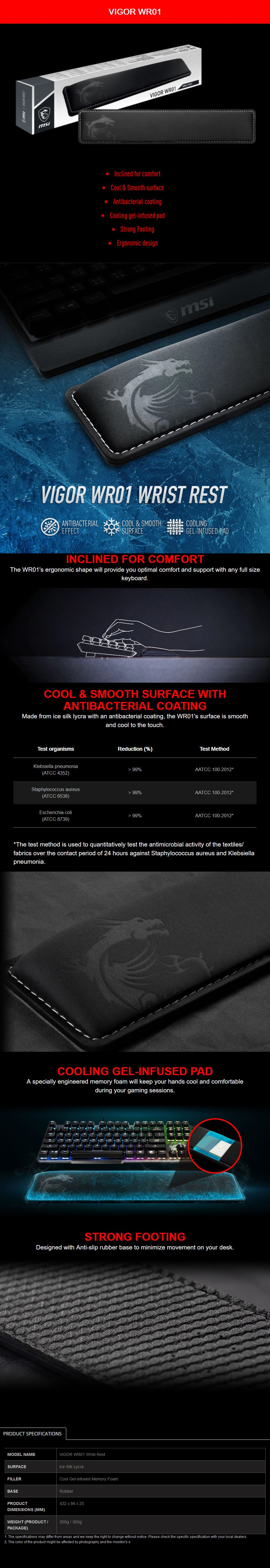 MSI Vigor WR01 Ergonomic Keyboard Cooling Wrist Rest - Overview 1