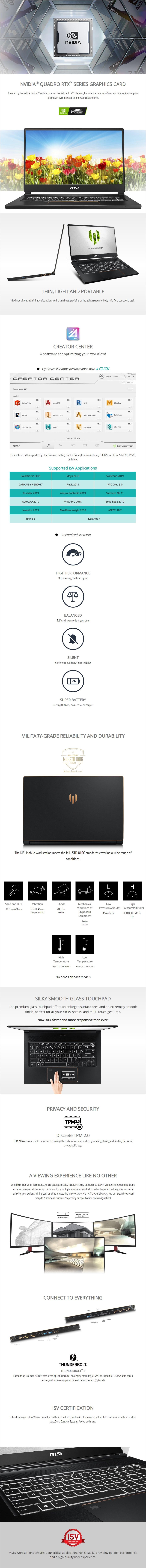 "MSI WS65 15.6"" Mobile Workstation i7-9750H 32GB 1TB Quadro RTX 3000 W10P - Overview 1"