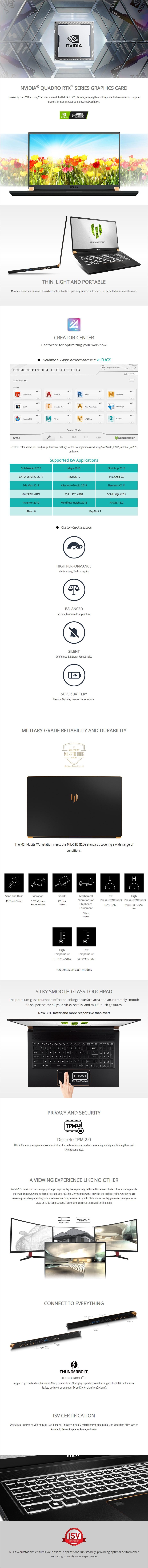 "MSI WS75 17.3"" Mobile Workstation i7-9750H 32GB 1TB Quadro RTX 3000 W10P - Overview 1"