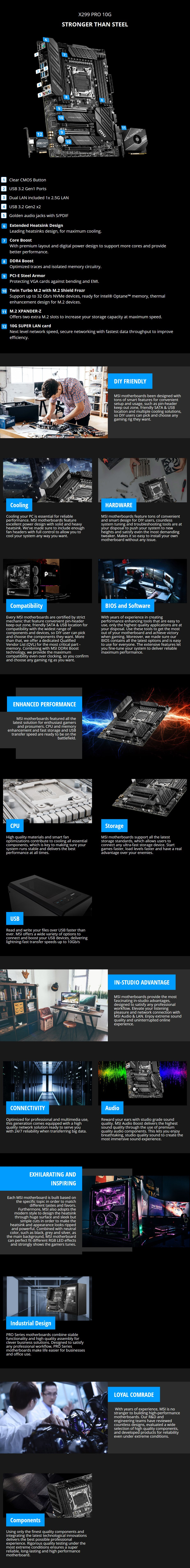 MSI X299 PRO 10G LGA 2066 ATX Motherboard - Overview 1