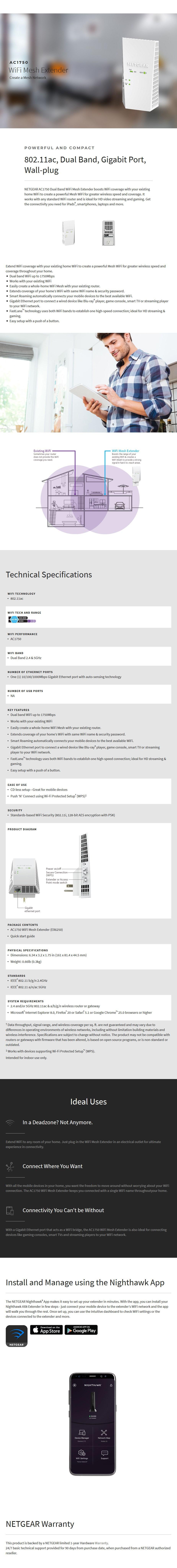 Netgear EX6250 Dual Band AC1750 WiFi Mesh Extender - Desktop Overview 1