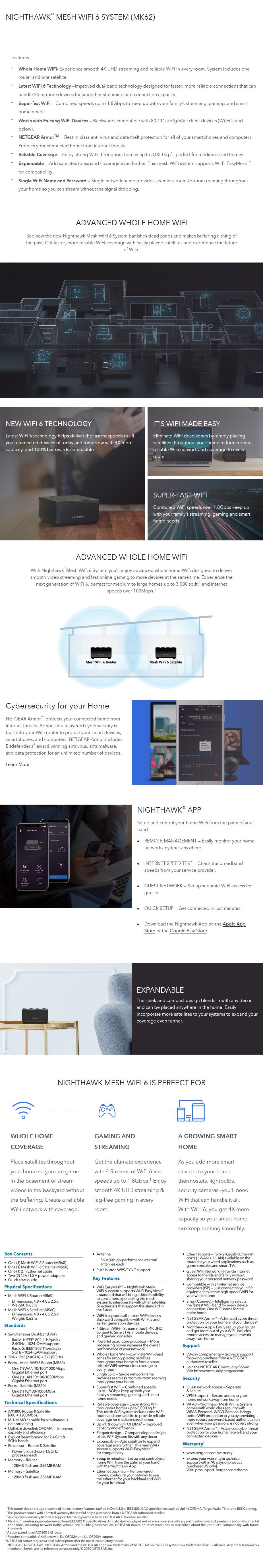 Netgear MK62 Nighthawk AX1800 WiFi 6 Mesh Router System - 2 Pack - Desktop Overview 1