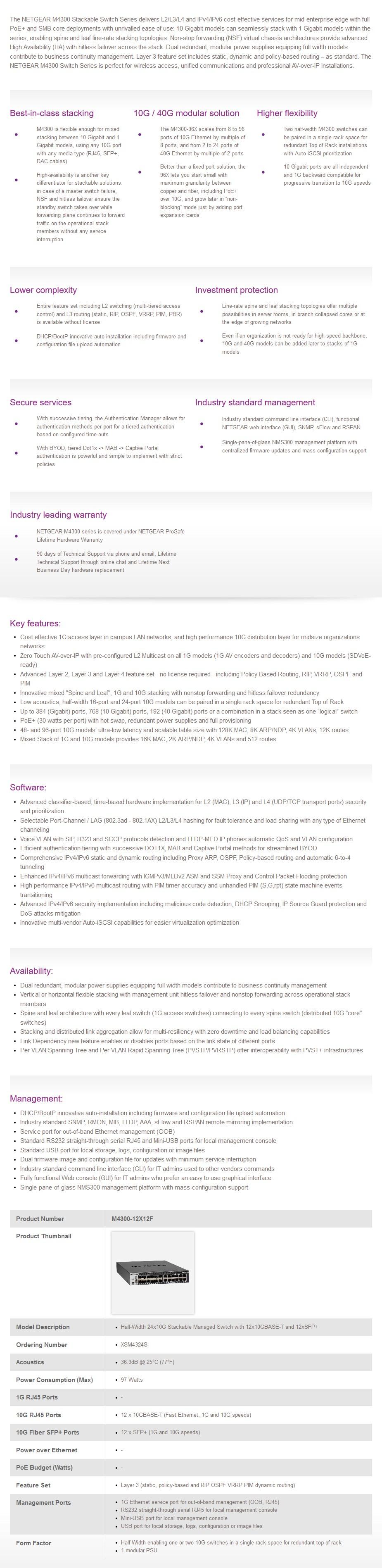 Netgear ProSAFE M4300-12X12F 24-Port Managed Switch - Overview 2