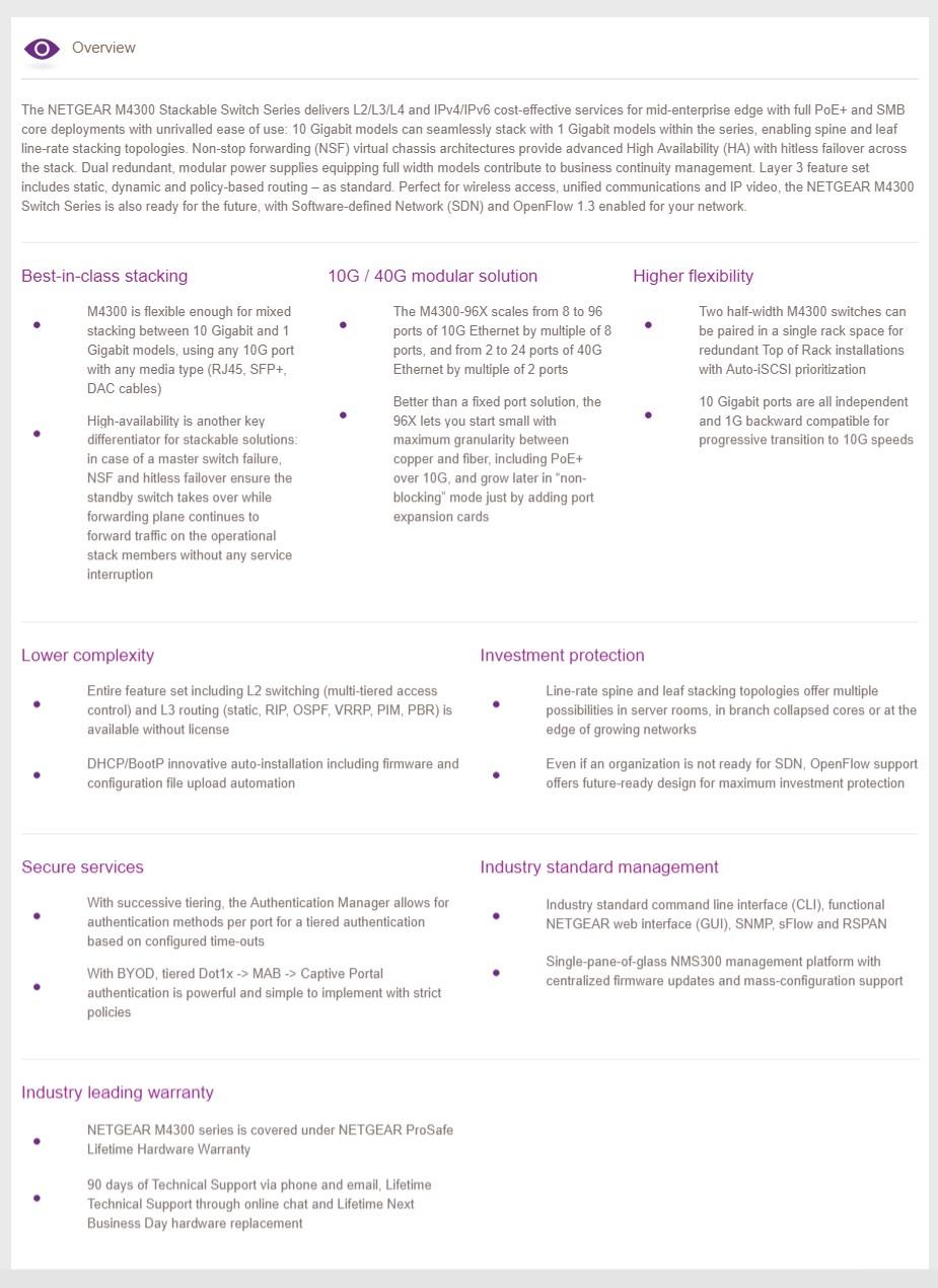 Netgear ProSAFE M4300-52G-PoE+ 48-Port Gigabit Managed Switch - Overview 2