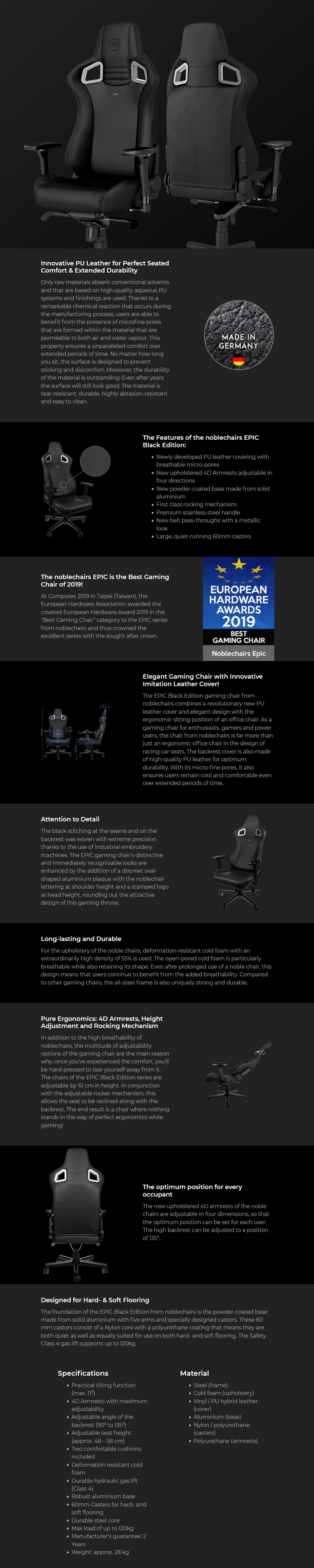 noblechairs EPIC Series Gaming Chair - Black Edition - Overview 1