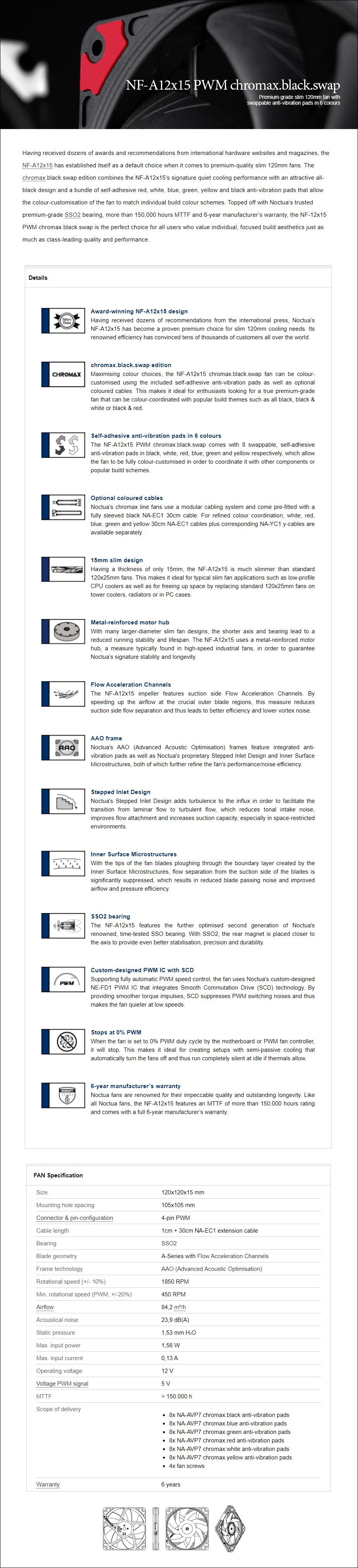 Noctua NF-A12x15 120mm chromax.black.swap Slim PWM Fan - Overview 1