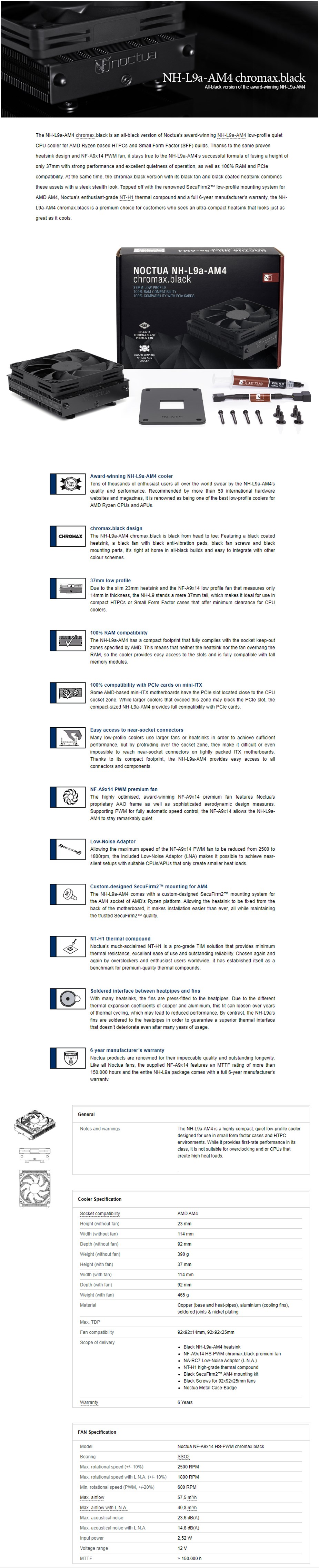 Noctua NH-L9a-AM4 AMD Low Profile CPU Cooler - Chromax Black - Overview 1