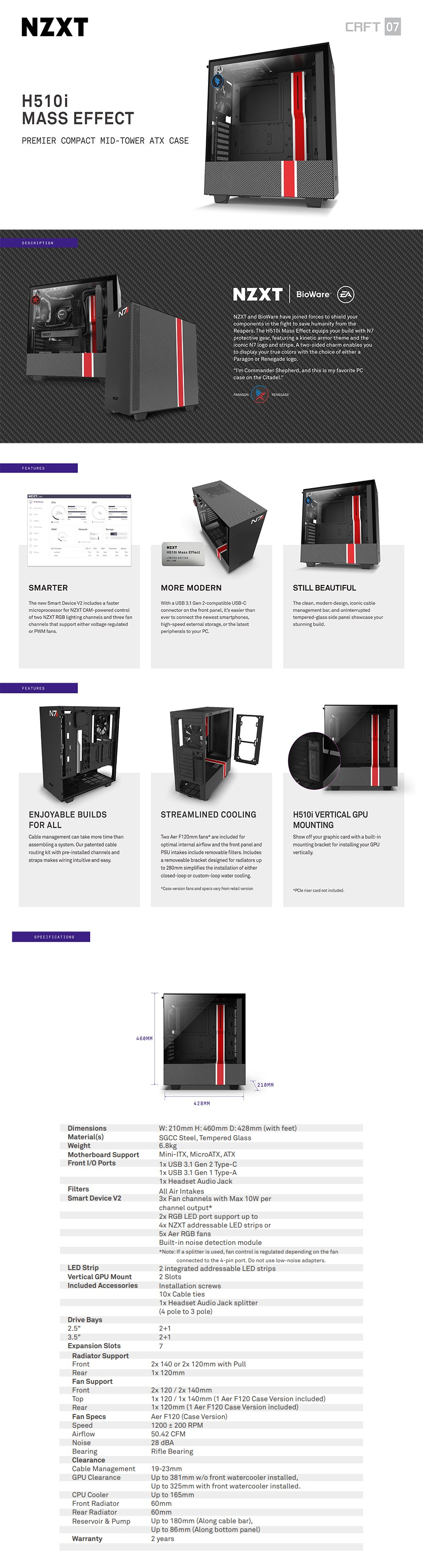 NZXT H510i Smart Tempered Glass Mid-Tower ATX Case - Mass Effect Edition - Overview 1