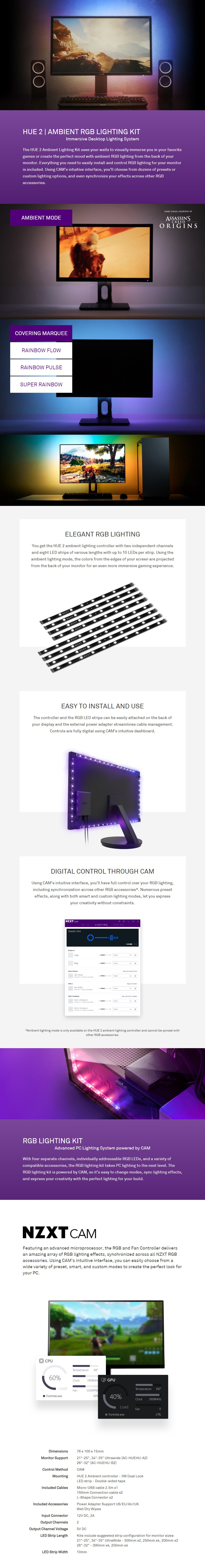 "NZXT HUE 2 Ambient V2 RGB Lighting Kit (21""-25"", 34""-35"" Ultrawide)  - Overview 1"