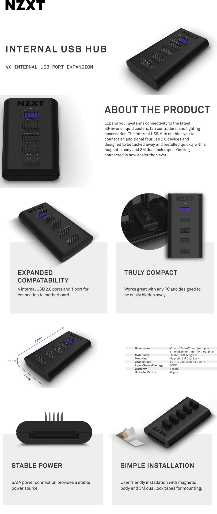 NZXT Internal 4-Port USB Hub - Overview 1