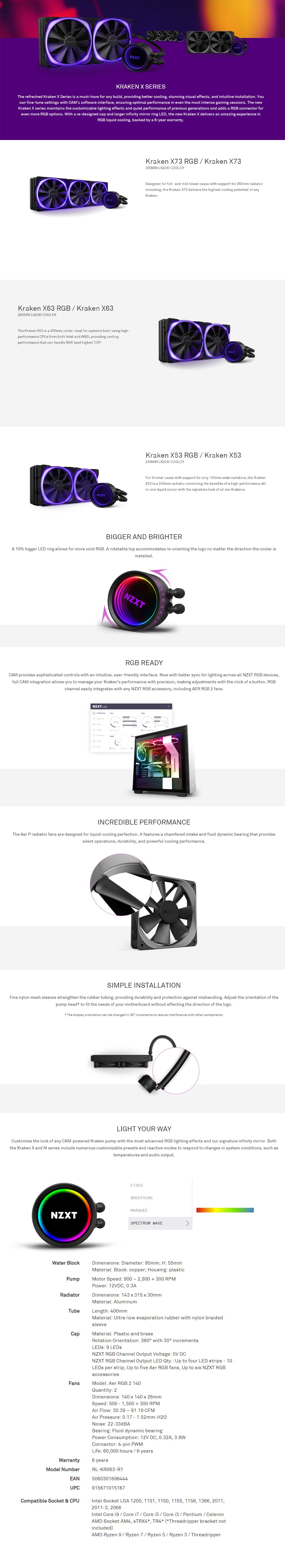 NZXT Kraken X63 280mm RGB AIO Liquid CPU Cooler - Overview 1