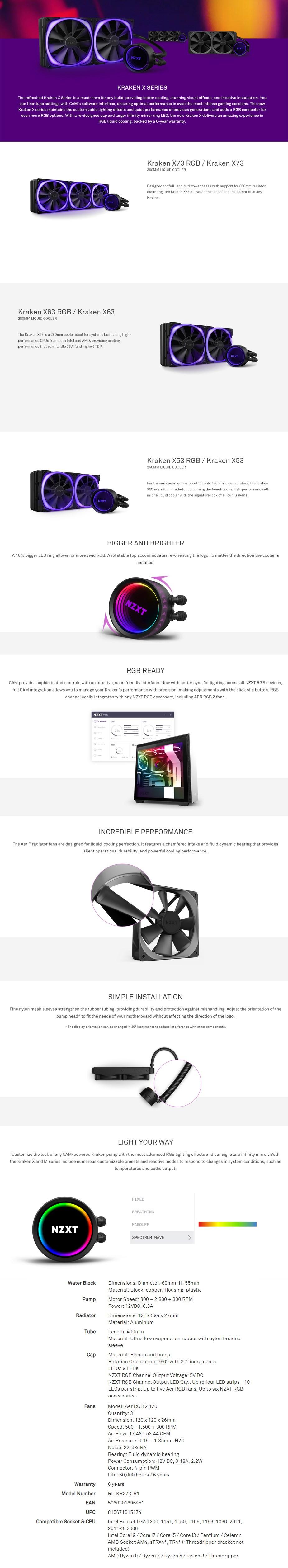 NZXT Kraken X73 360mm RGB AIO Liquid CPU Cooler - Overview 1