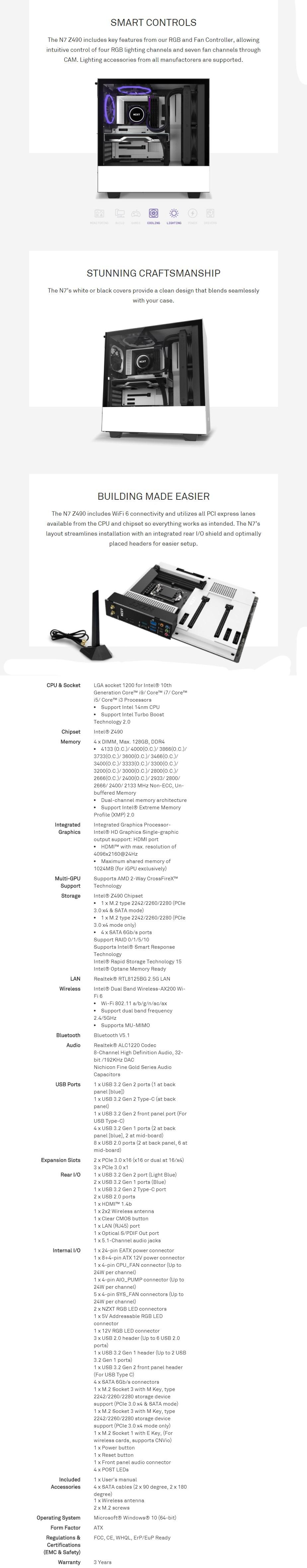 NZXT N7 Z490 Gaming Intel LGA 1200 ATX Motherboard - Matte Black - Desktop Overview 1
