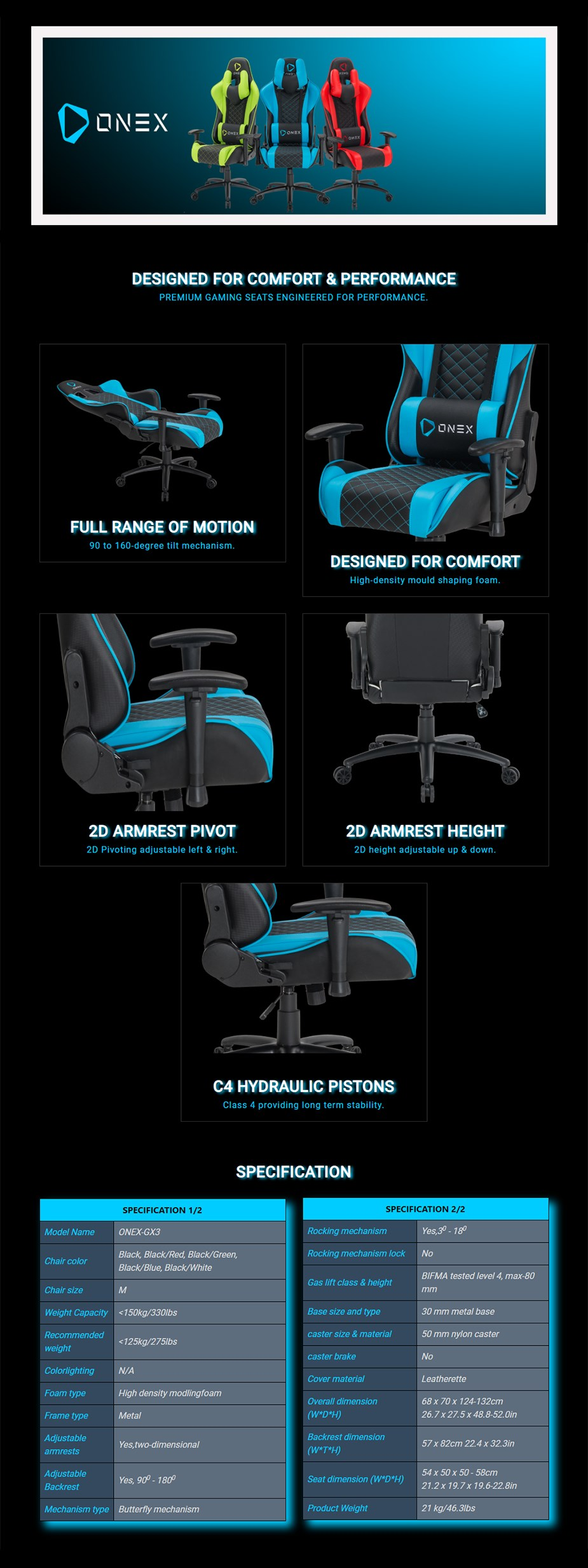 ONEX GX3 Series Gaming Chair - Blue/Black - Overview 1