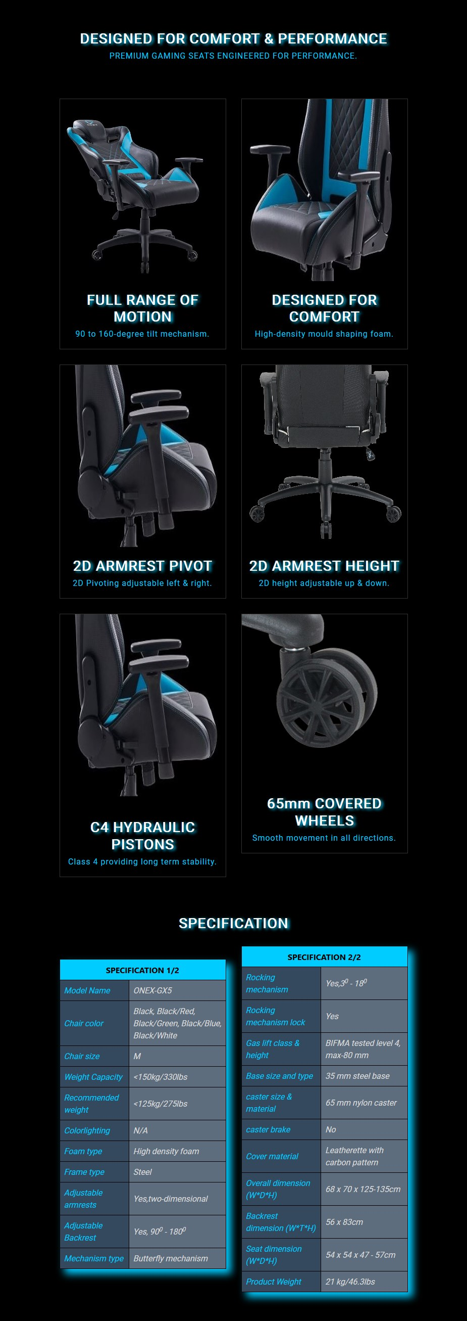 ONEX GX5 Series Office/Gaming Chair - Overview 1