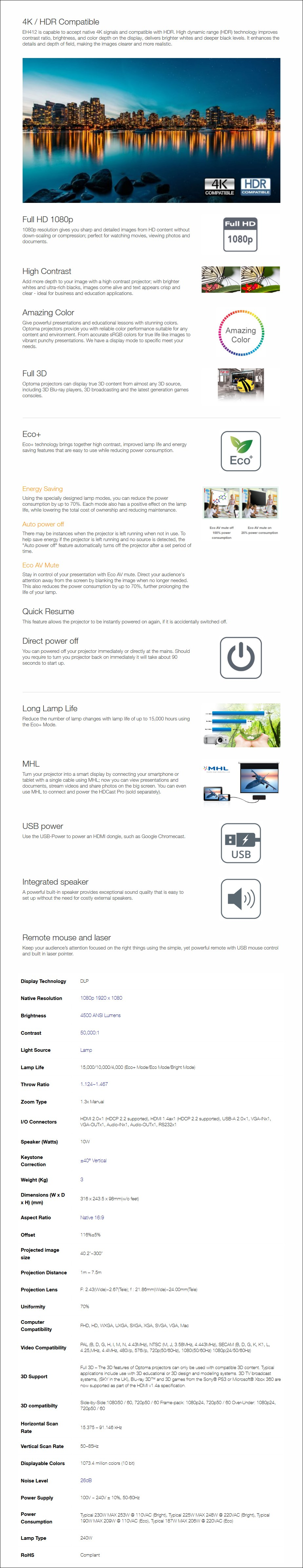 Optoma EH412 Full HD 4500 Lumens DLP Projector - Overview 1