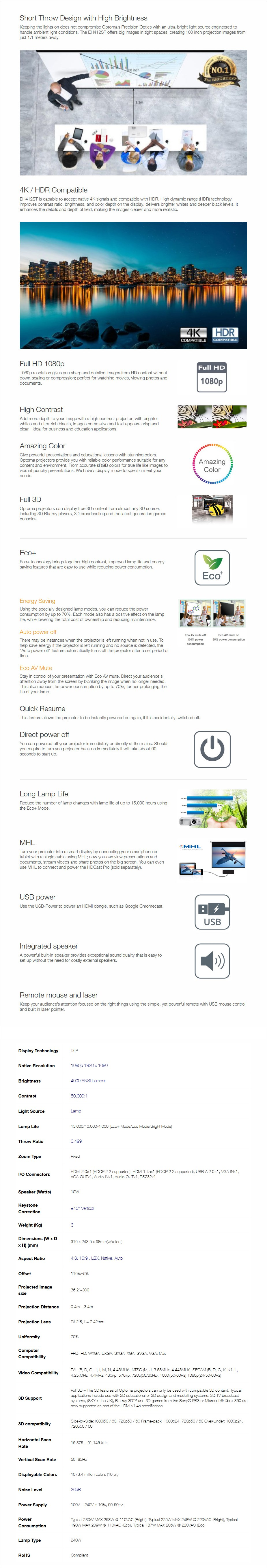 Optoma EH412ST Full HD 4000 Lumens Short Throw DLP Projector - Overview 1