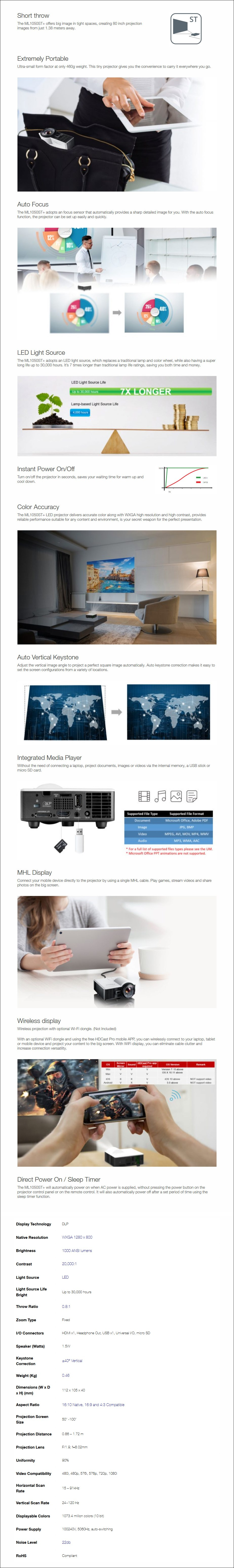 Optoma ML1050ST+ WXGA 1000 Lumens Short Throw Compact LED Projector - Overview 1