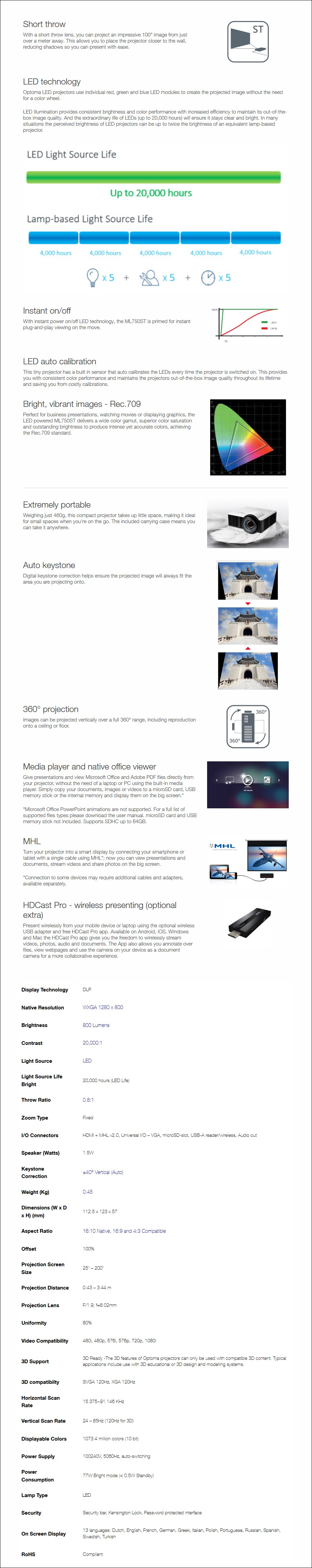 Optoma ML750ST WXGA 800 Lumens Short Throw Compact LED Projector - Overview 1