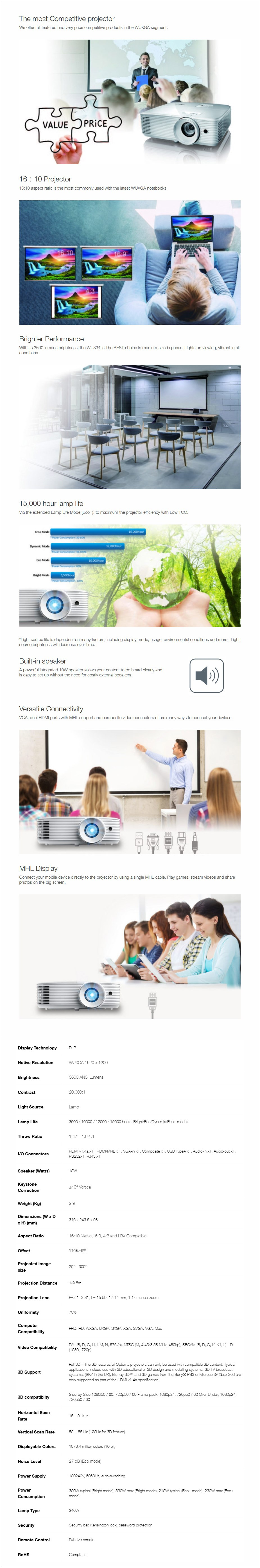 Optoma WU334 WUXGA 3600 Lumens Compact DLP Projector - Overview 1