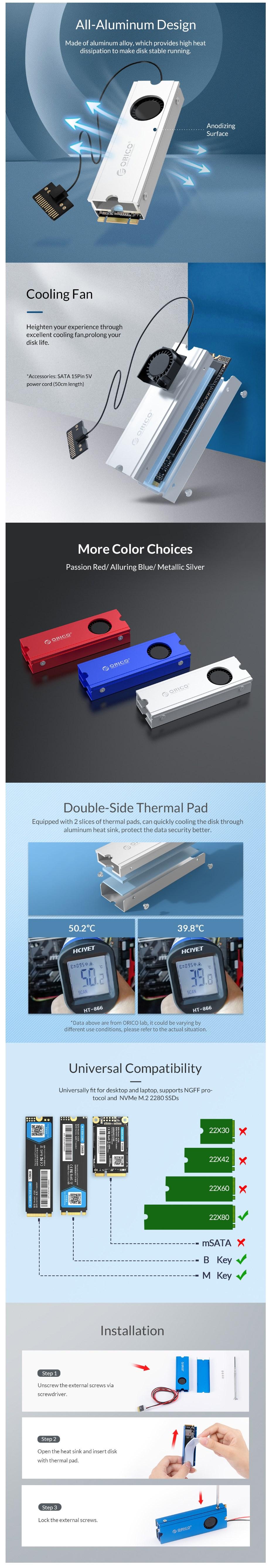 Orico M2SRC Aluminium M.2 SSD Heatsink with Fan - Metallic Silver - Desktop Overview 1