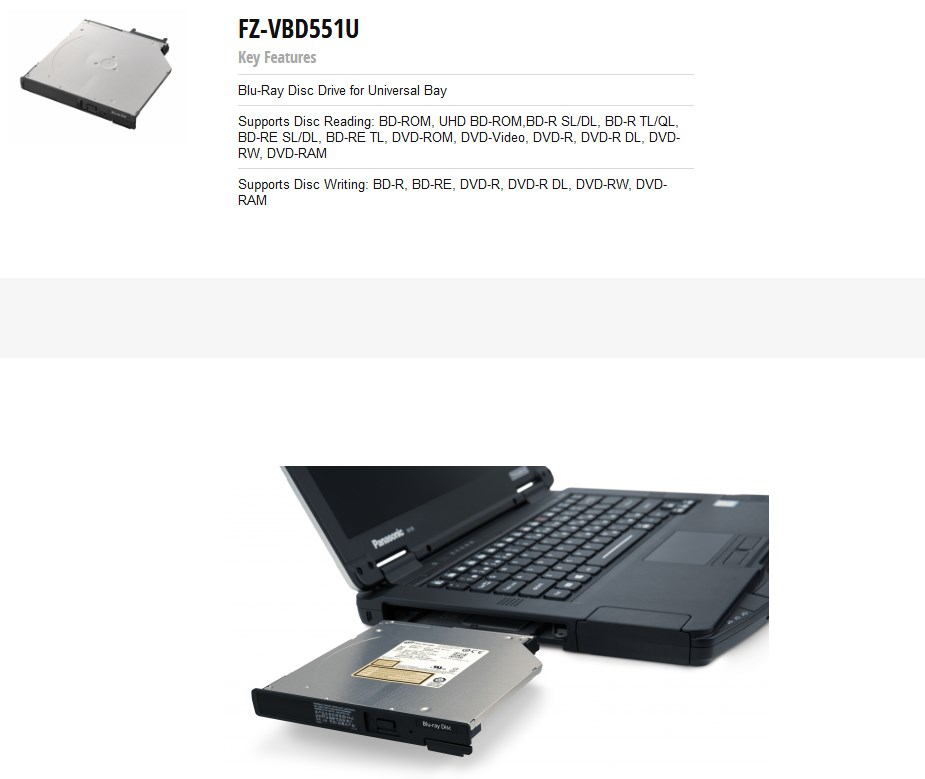 Panasonic FZ-VBD551U Blu-ray Disc Drive Universal Bay Module for ToughBook FZ-55 - Overview 1