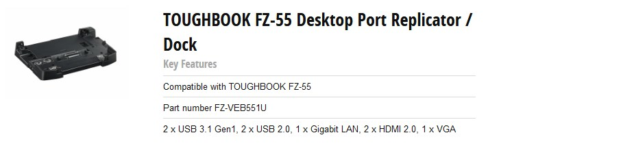 Panasonic FZ-VEB551U Desktop Port Replicator/Dock for FZ-55 - Overview 1