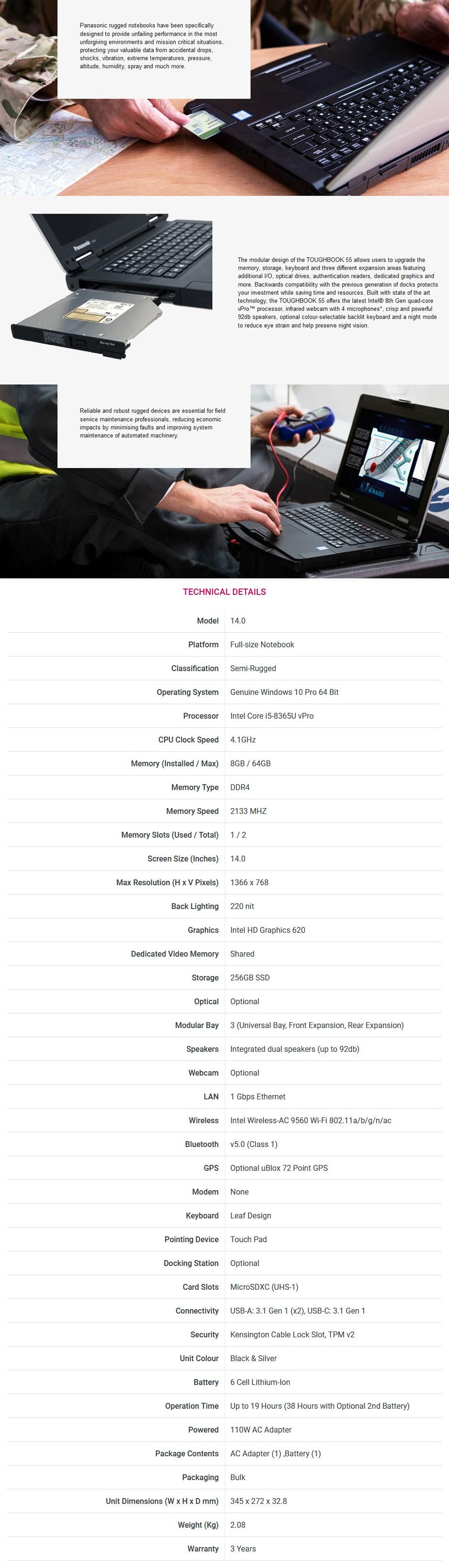 "Panasonic Toughbook MK1 FZ-55 14"" HD Laptop i5-8365U vPro 8GB 256GB W10P - Overview 1"