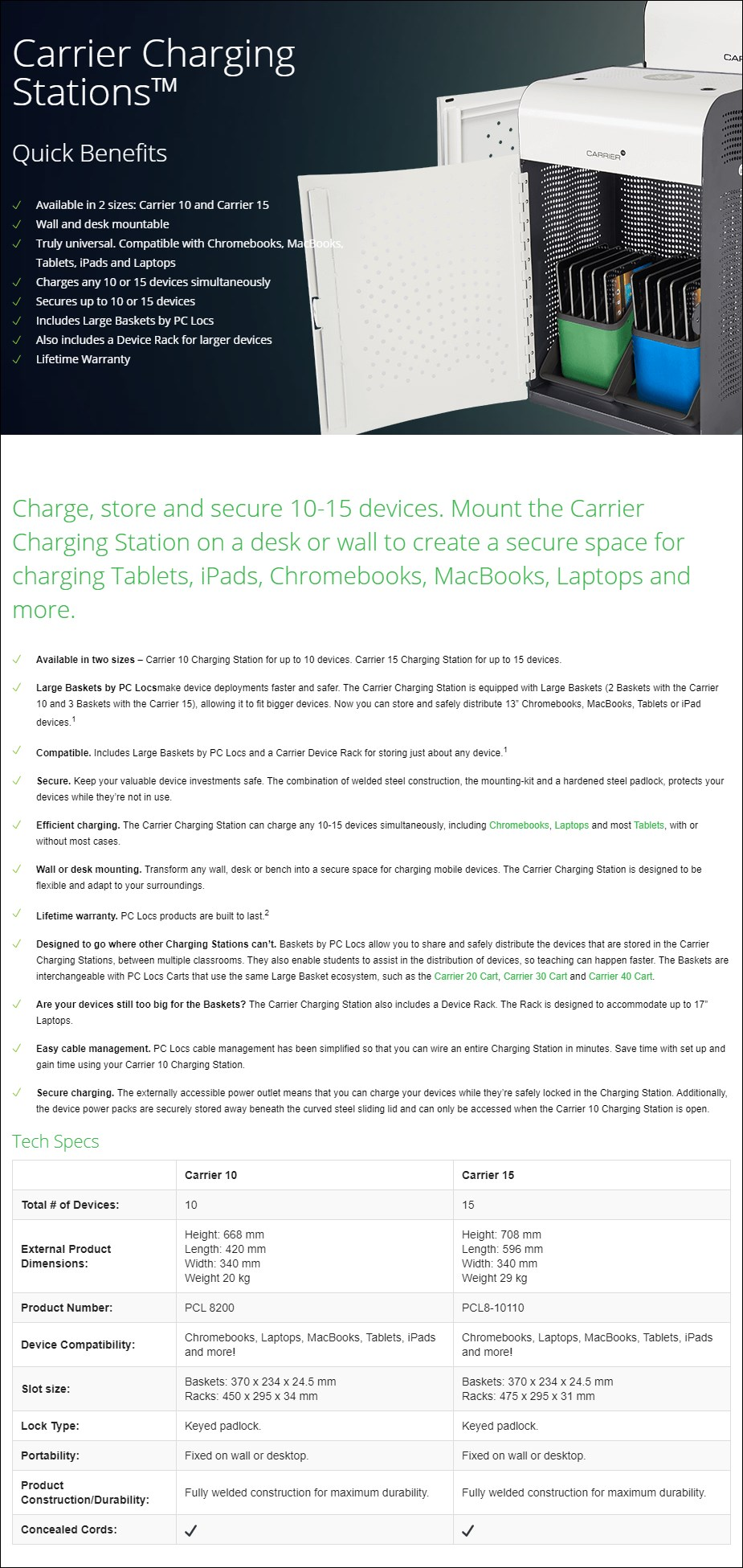 PC Locs Carrier 15 Charging Station - Overview 1