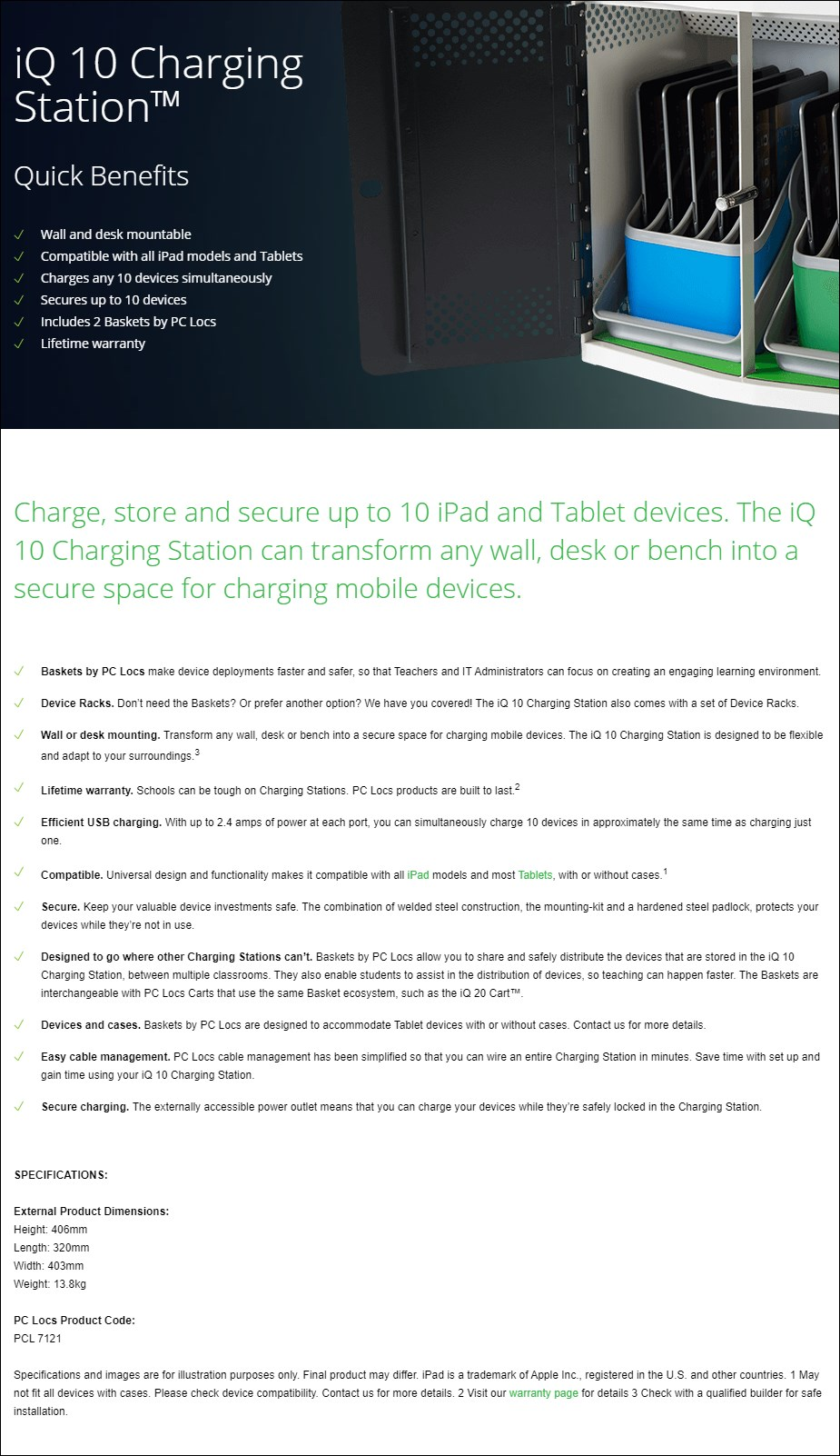 PC Locs iQ 10 Charging Station - Overview 1