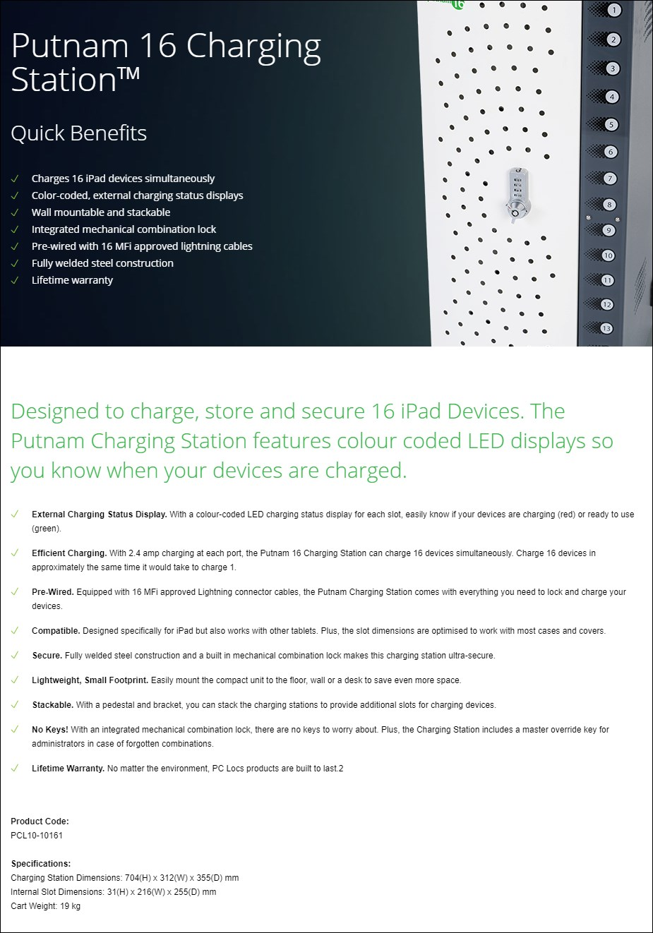 PC Locs Putnam 16 Charging Station - Overview 1