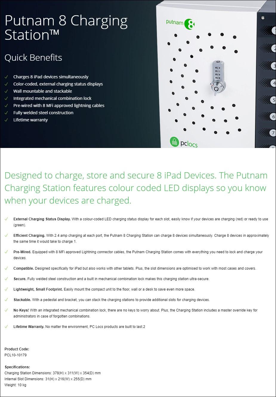 PC Locs Putnam 8 Charging Station - Overview 1
