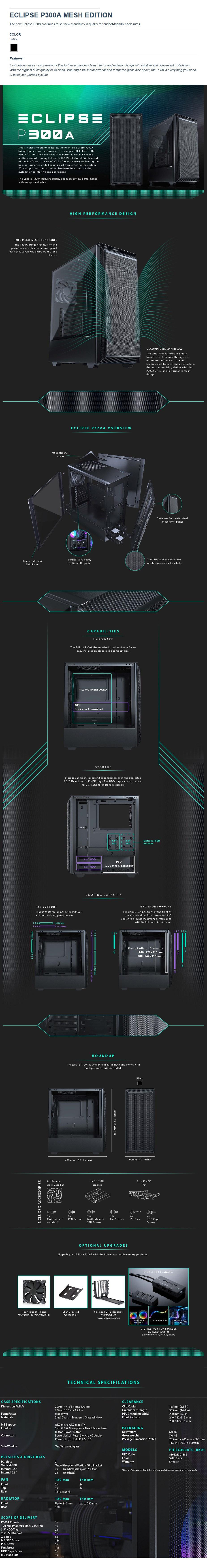 Phanteks Eclipse P300A RGB TG Mid-Tower ATX Case Mesh Edition - Black - Overview 1