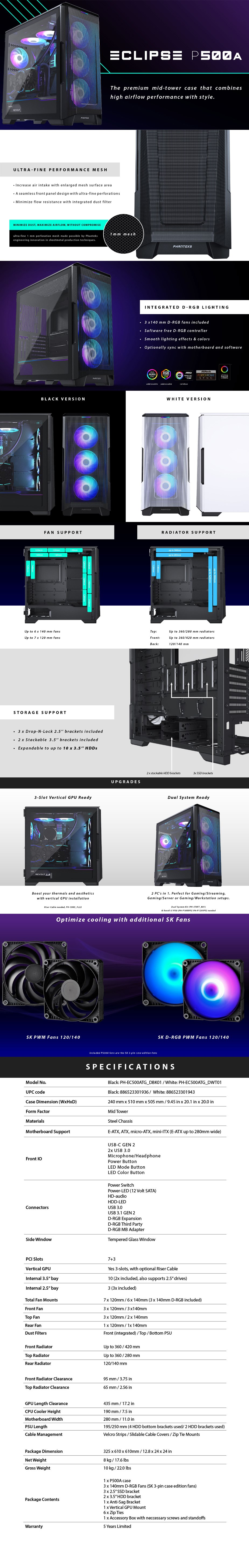 Phanteks Eclipse P500A Airflow D-RGB Tempered Glass Mid-Tower ATX Case - White - Overview 1