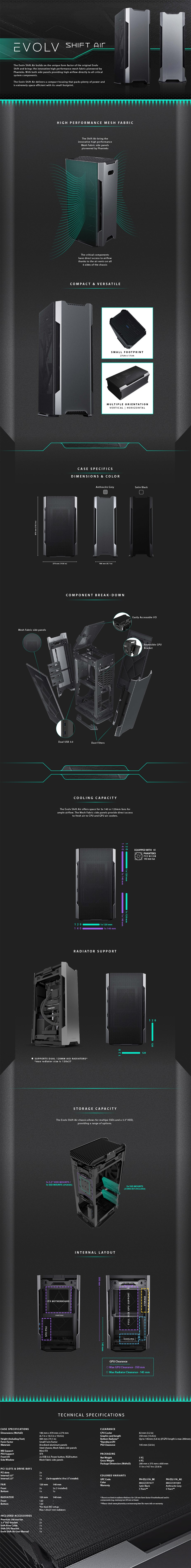 Phanteks Enthoo Evolv Shift Air Mini-ITX Case - Anthracite Gray - Overview 1