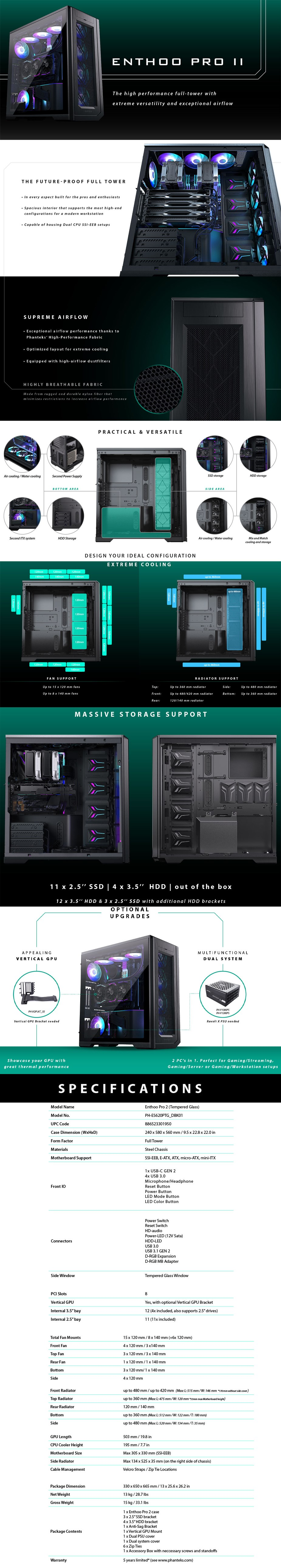 Phanteks Enthoo Pro 2 D-RGB Tempered Glass Full-Tower ATX Case - Black - Overview 1
