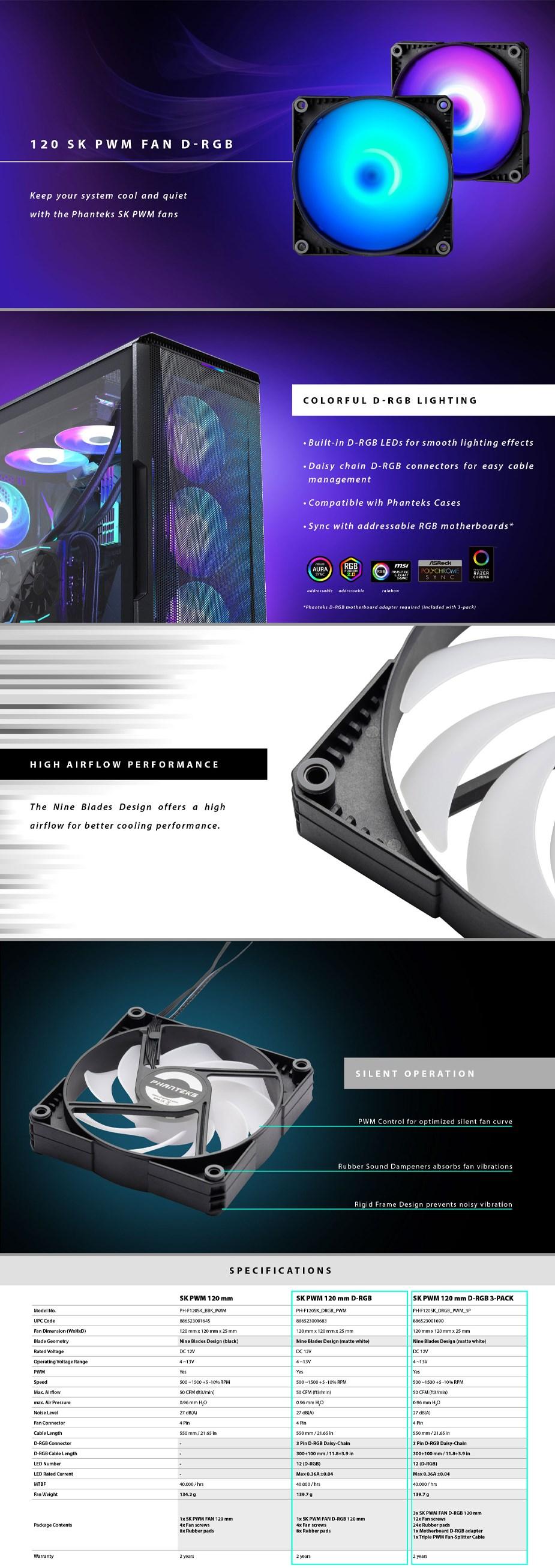 Phanteks PH-F120SK SK 120mm PWM Fan D-RGB - 3 Pack - Overview 1