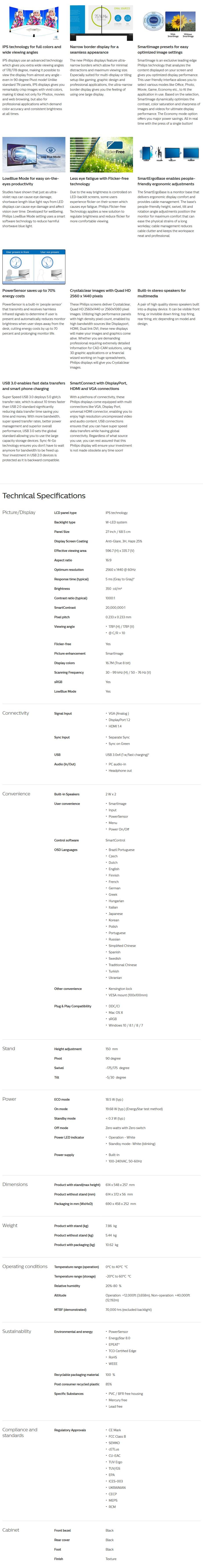 "Philips B-Line 272B7QPJEB 27"" 2K QHD IPS Monitor - Overview 1"