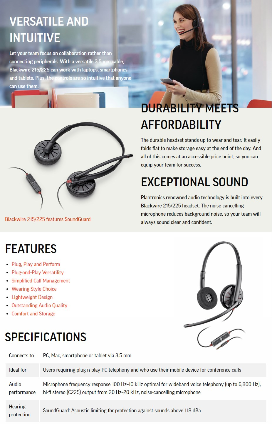 Plantronics Blackwire 225 Wired Binaural Headset - Overview 1