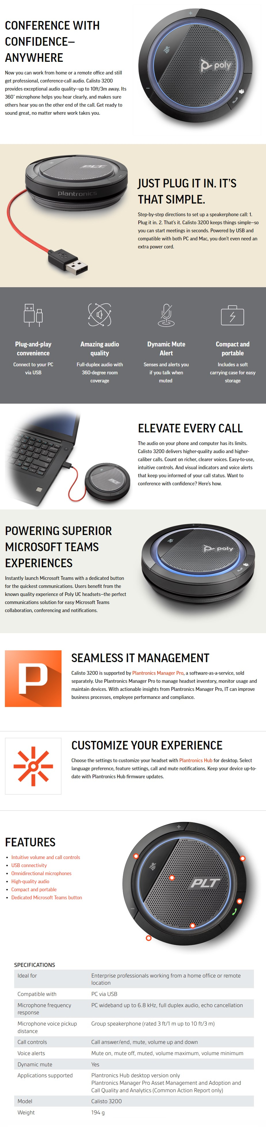 Plantronics Calisto 3200 UC USB-C Portable Speakerphone - Microsoft Teams - Overview 1