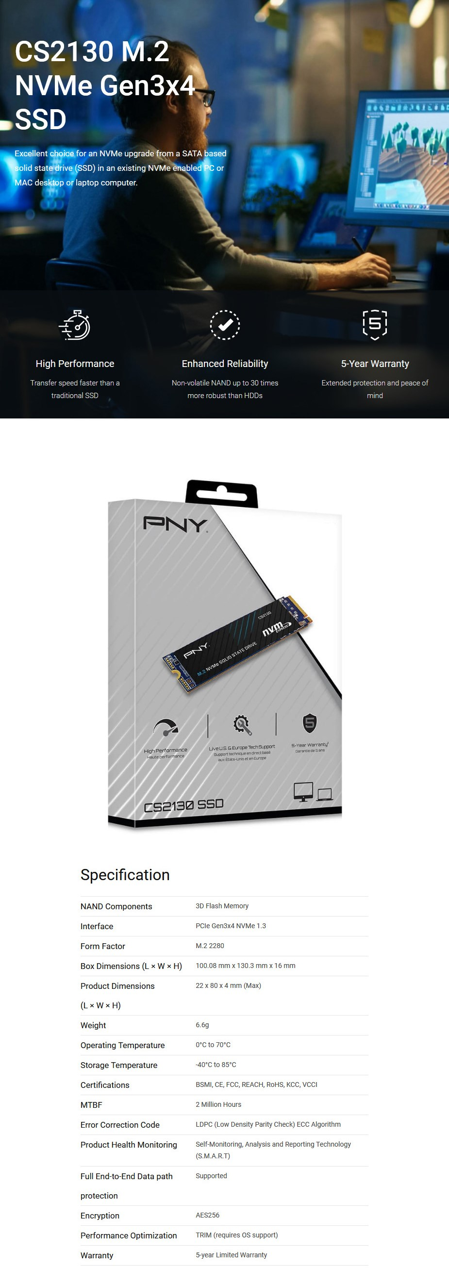 PNY CS2130 500GB M.2 NVMe PCIe SSD M280CS2130-500-RB - Overview 1