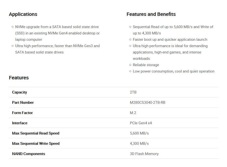 PNY CS3040 2TB M.2 NVMe Gen4 x4 PCIe SSD M280CS3040-2TB-RB - Overview 2