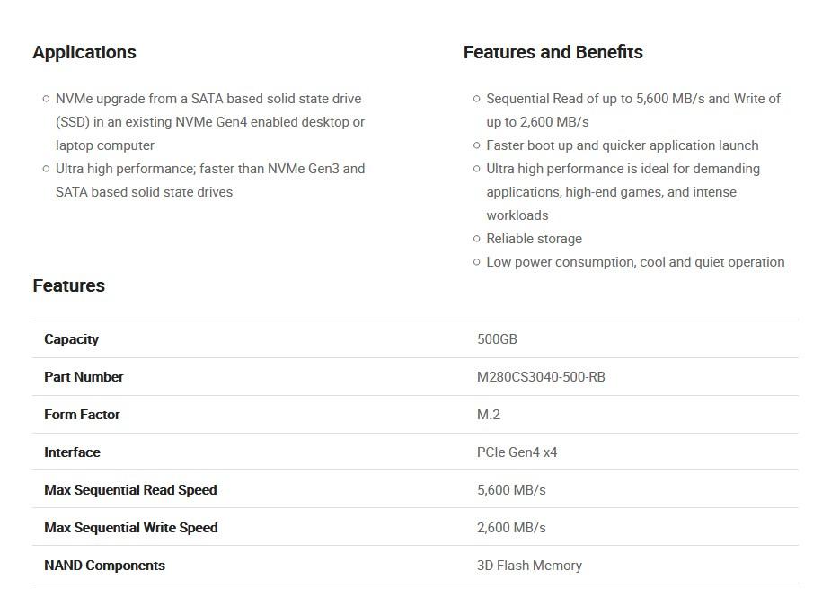 PNY CS3040 500GB M.2 NVMe Gen4 x4 PCIe SSD M280CS3040-500-RB - Overview 2