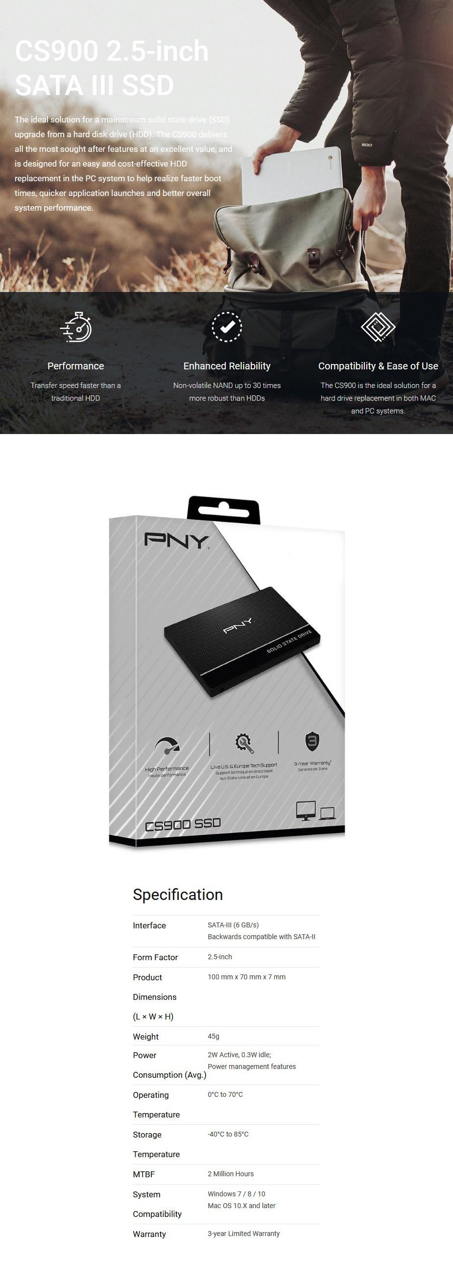 """PNY CS900 960GB 2.5"""" SATA III 6Gb/s SSD SSD7CS900-960-RB - Overview 1"""