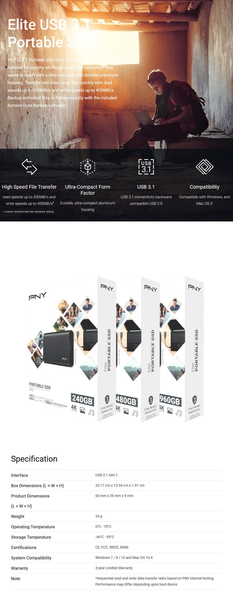PNY Elite CS1050 240GB USB 3.0 Ultra-Compact Portable SSD - Overview 1