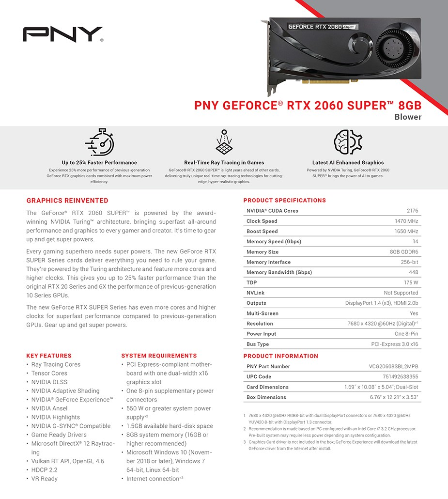PNY GeForce RTX 2060 SUPER Blower V2 8GB Video Card - Overview 1