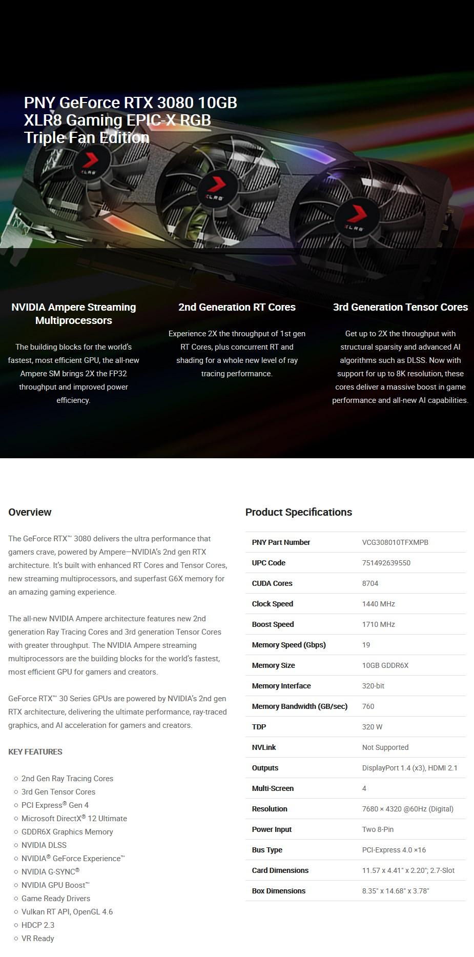PNY GeForce RTX 3080 XLR8 Gaming EPIC-X RGB 10GB Video Card - Overview 1