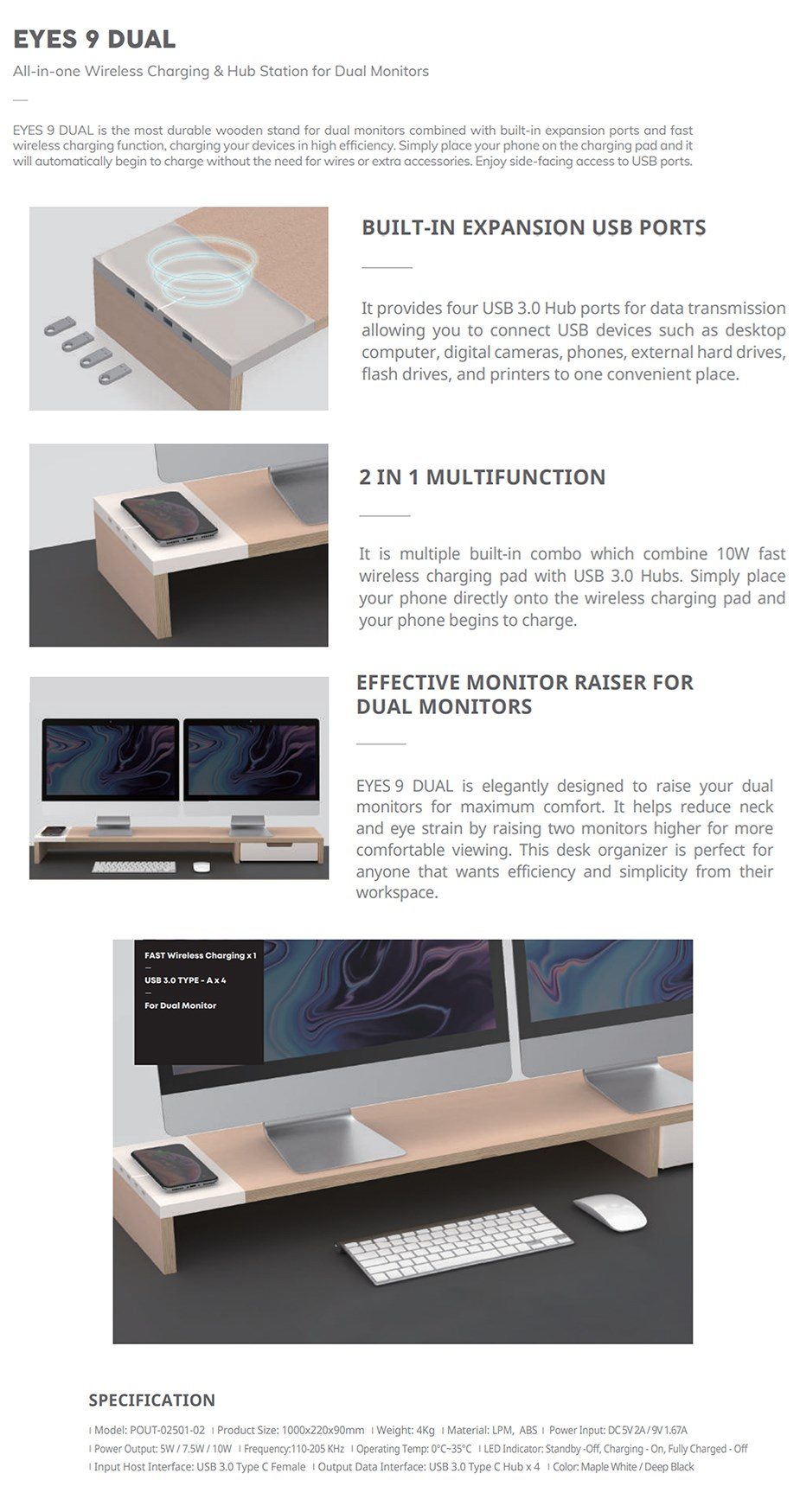 Pout Eyes9 All-In-One Wireless Charging & Hub Stand for Dual Monitors - White - Overview 1